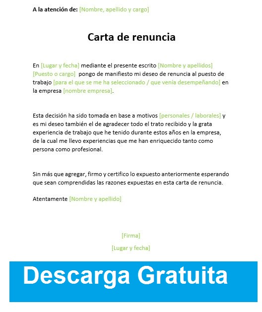 carta de renuncia word